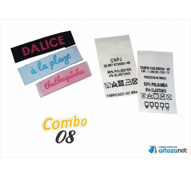 Combo Artezanet 08: 1.000 Etiquetas Bordadas + 1.000 Etiquetas Estampadas