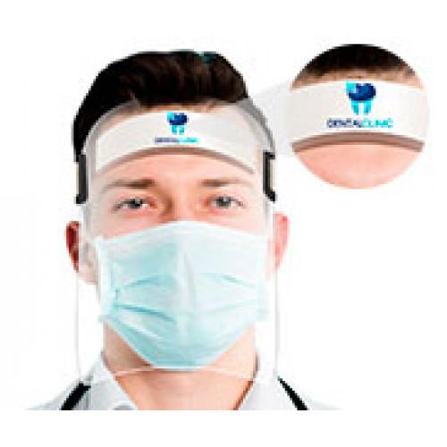 Protetor Facial Face Shield com Presilha de Elástico, Personalizado, Pacote com 10 unidades