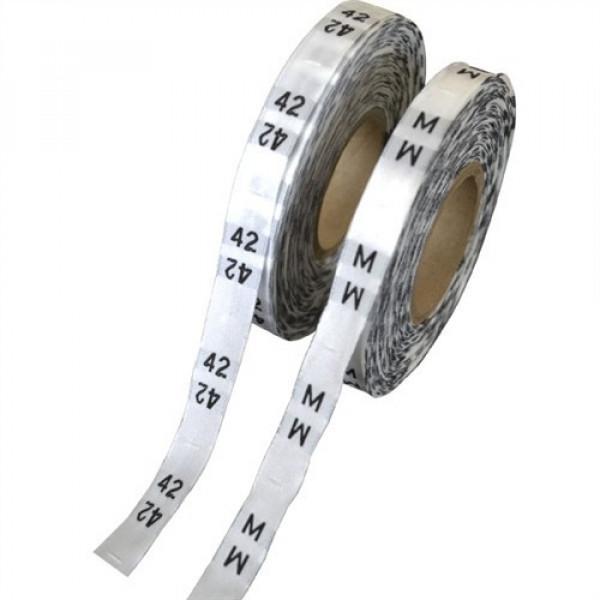 """Etiqueta Bordada em Fundo Branco """"Números"""", Rolo com 715 etiquetas"""