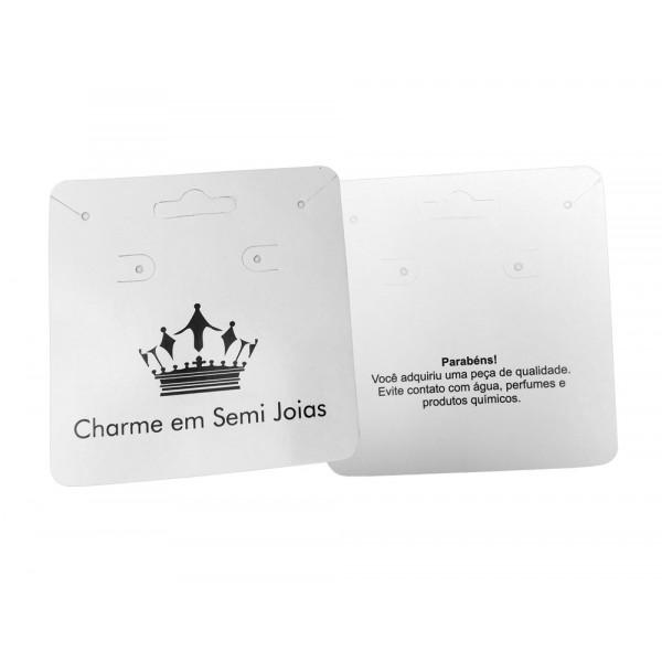 Cartela Personalizada para Brincos e Pulseiras, Papel Couchê 300g, Medida 90 x 100 mm, Max Biju