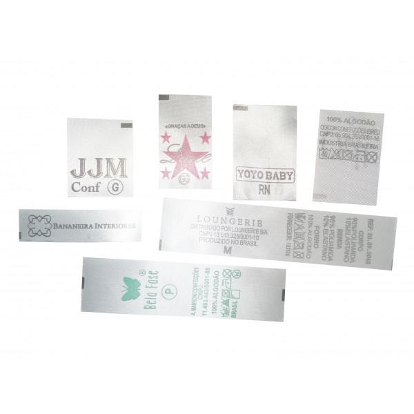 Etiqueta Estampada Personalizada em Cetim, Composição do Tecido e Logo