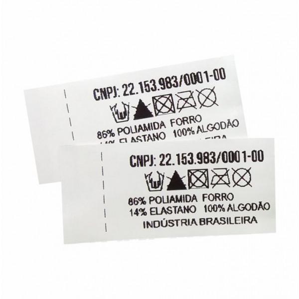 Etiqueta Estampada Personalizada em Nylon Emborrachado 20x45mm, Composição do Tecido