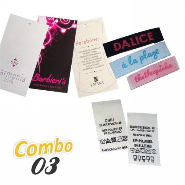 Combo Artezanet 03: 1.000 Etiquetas Tags + 1.000 Etiquetas Bordadas + 1.000 Etiquetas Estampas em Nylon