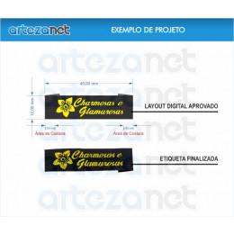 Etiqueta Bordada Personalizada, 1 Cor + Fundo, Sistema de Criação Online